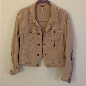 Pink distressed jean jacket